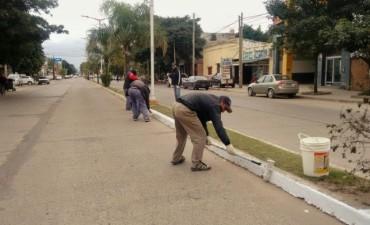 Realizan el blanqueo de cordones en la avenida Belgrano
