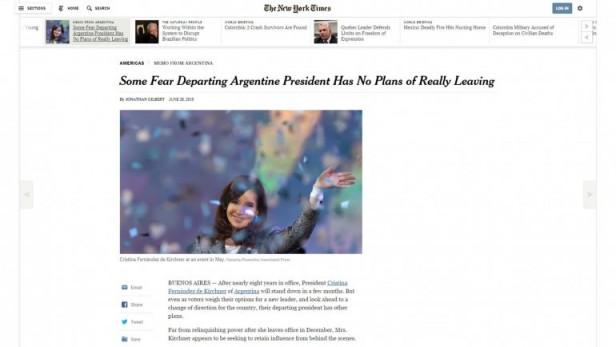 Para el New York Times, Cristina Kirchner busca retener el poder