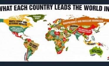 El desopilante mapamundi que muestra en qué es líder cada país