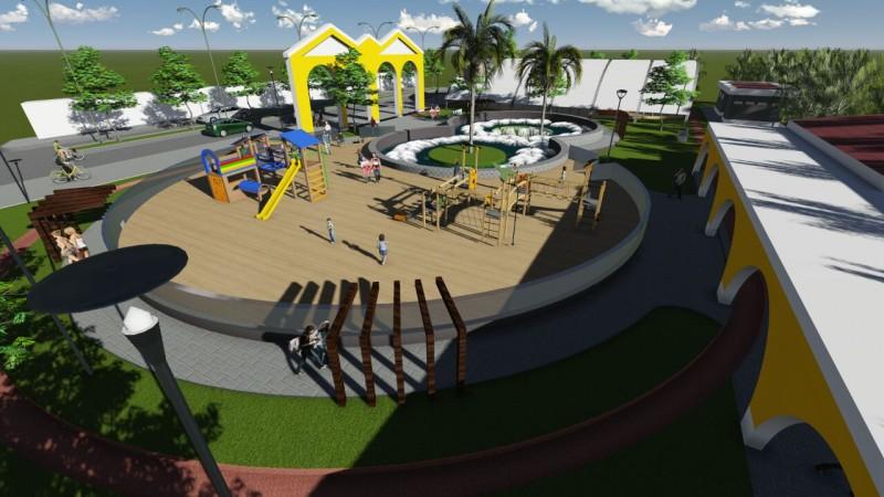 El Municipio inició la construcción de una novedosa y educativa plaza sobre Avenida Besares