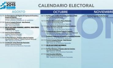 Dieron a conocer el cronograma electoral de 2015