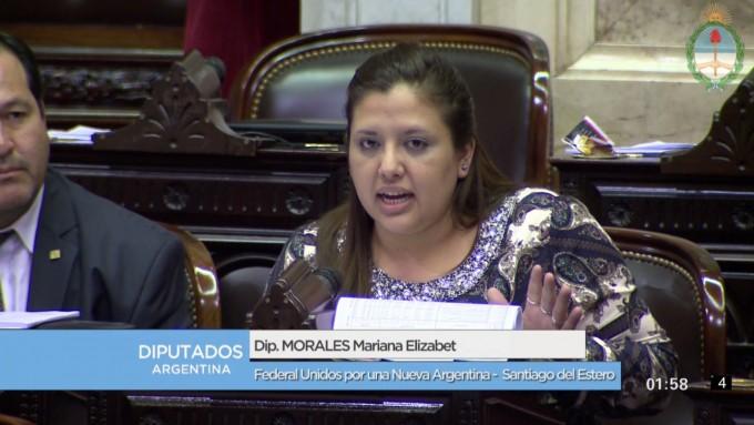 La diputada bandeña Mariana Morales sumó su voto contra el aumento del 47% de las dietas