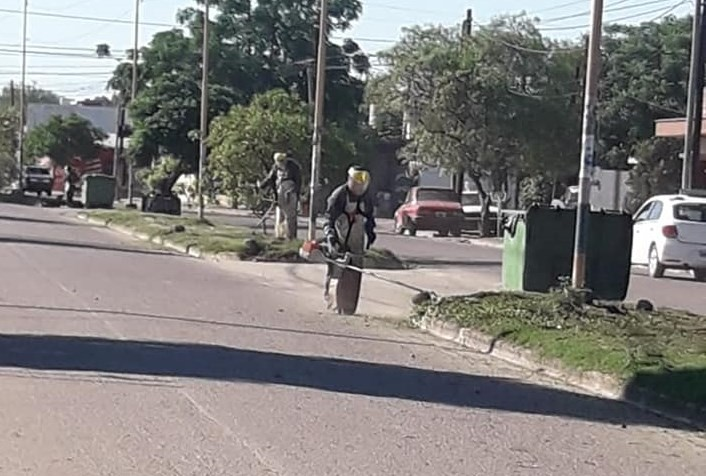 El municipio realizó tareas de desmalezamiento en platabandas de la ciudad