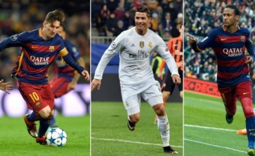 Lionel Messi, Cristiano Ronaldo y Neymar, candidatos al Balón de Oro
