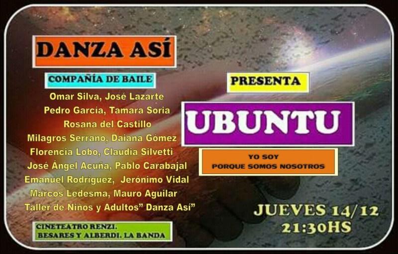 """El espectáculo integral de danza, poesía, música """"Ubuntu"""" llega al Renzi"""